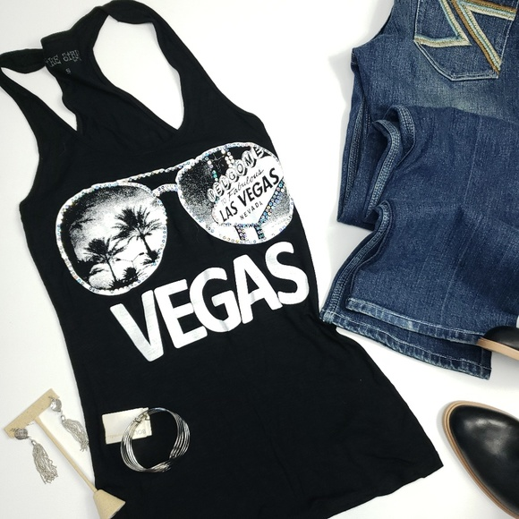 74e3fcf229a The Strip Tops   Las Vegas Racer Back Tank With Sequine Outline ...